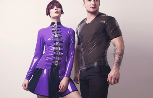Fetasia Latex Women's Buckled Jacket and Men's T-Shirt