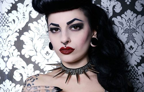 Prong Jewellery Diamonte Choker with XL Spikes modelled by Marie Devilreux. Photo: Lucie Alice