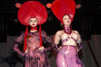 the German Fetish Ball fashion shows in 2018 featured Torture Garden Latex with headdresses by Marie Devilreux. Photo: Tony Mitchell