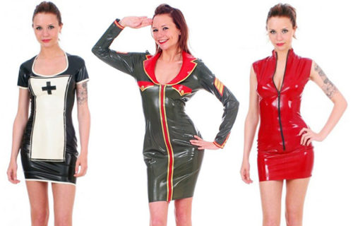 Dresses from the latex range at Brighton store Lust
