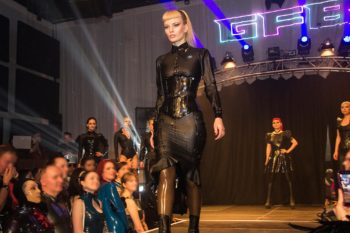 Das Fräulein Fuchs wearing Shitake latex on the German Fetish Ball 2019 catwalk (photo: Tony Mitchell)