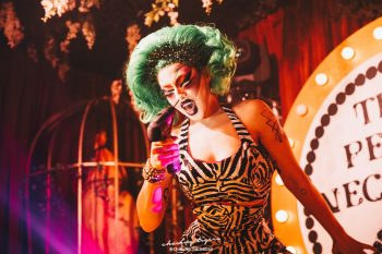 Nose-drilling performance at TG supper club The Pearl Necklace. Photo: @chasingthetiger