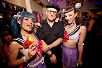 FetishGuerilla host Martin Pelzer with assistants Blondie and Fräulein Fuchs. Photo: Gili Shani